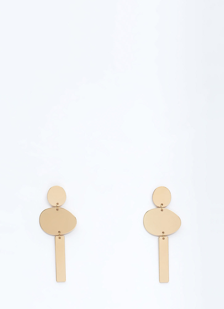 Shape Up Geometric Plate Earrings GOLD