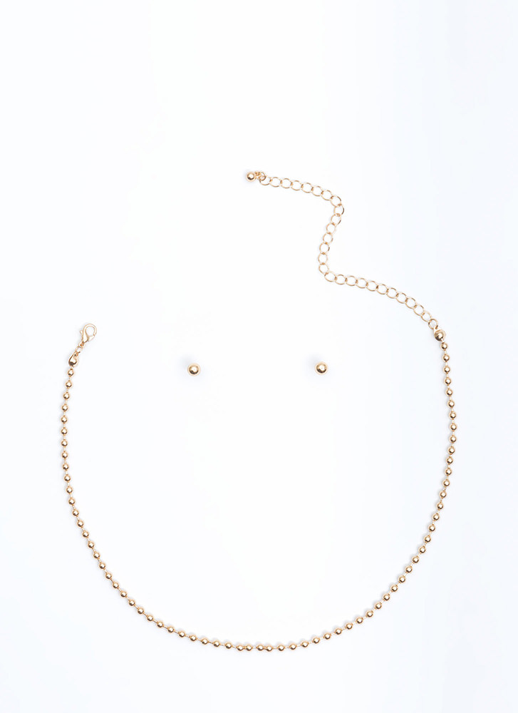 Pass The Ball Chain Necklace Set GOLD