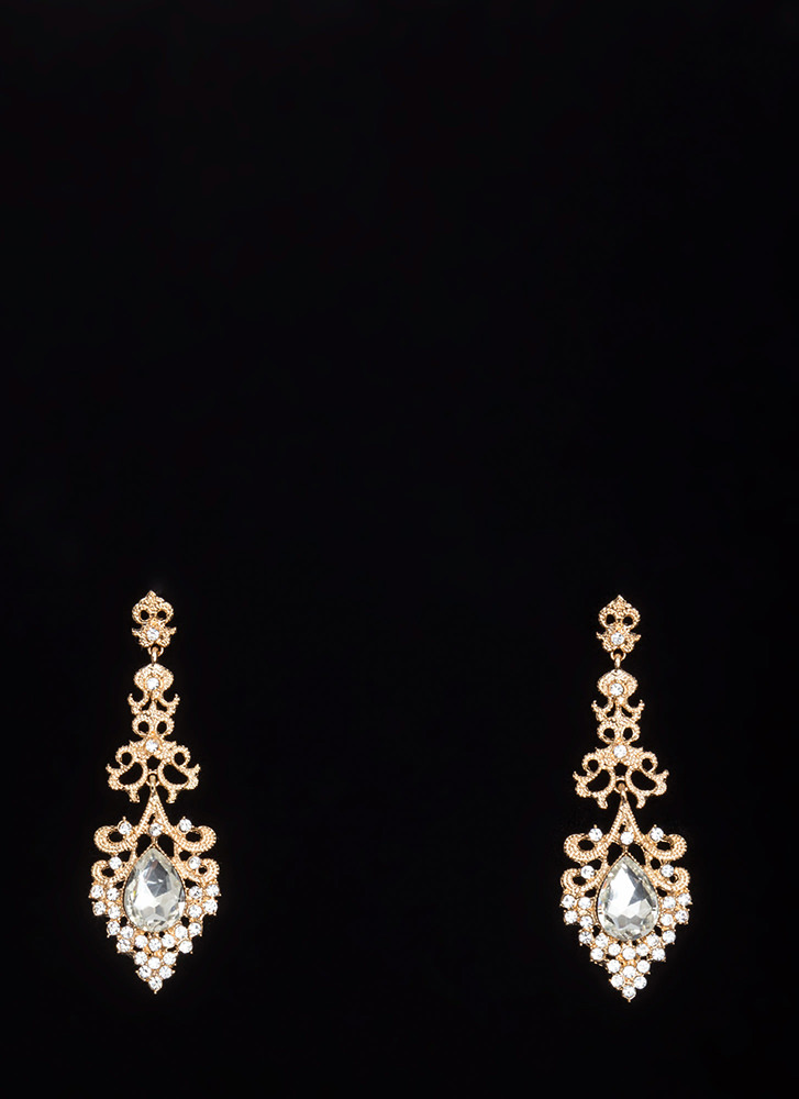 From The Chandelier Jeweled Earrings GOLD