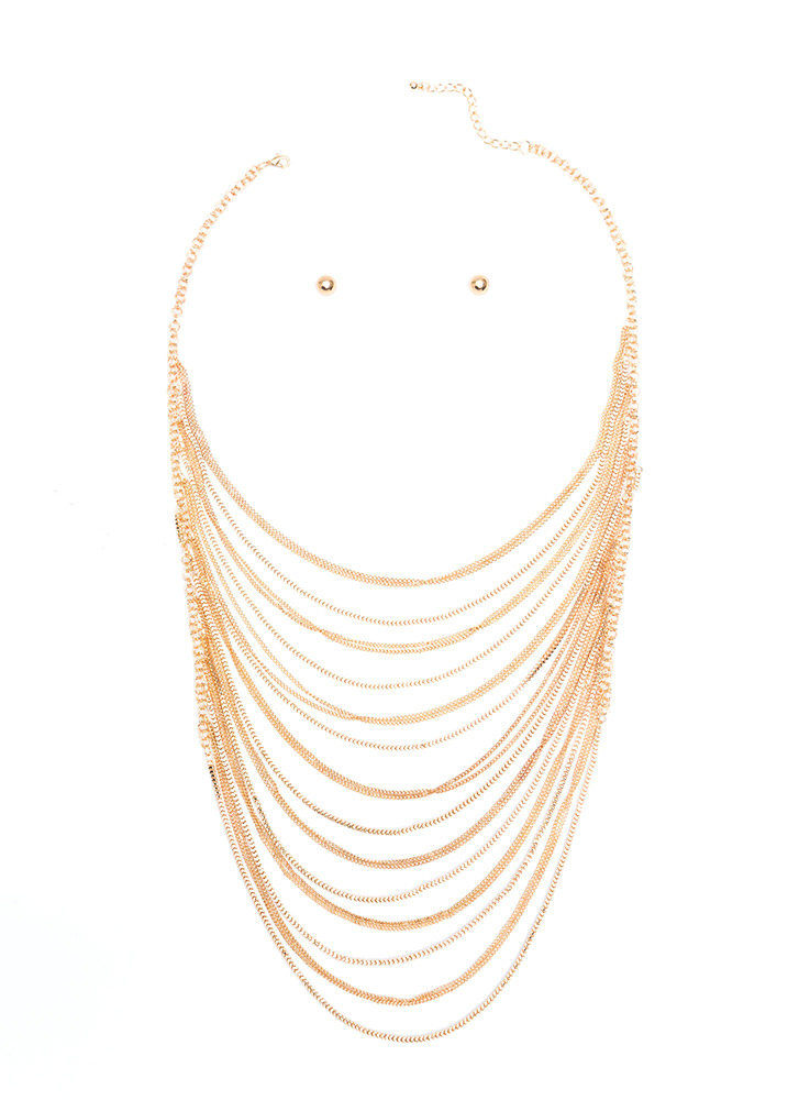 Draped To Meet You Chain Necklace Set GOLD