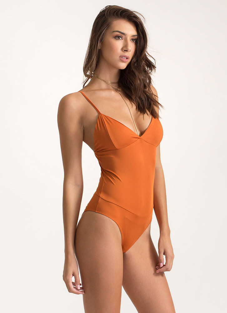 Underneath It All Cami Bodysuit COGNAC