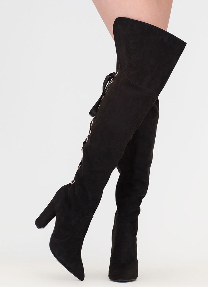 Lace U Back Faux Suede Thigh-High Boots BLACK