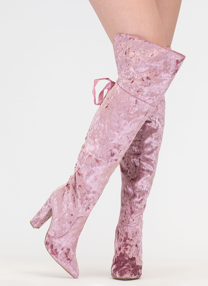 Lace U Back Velvet Thigh-High Boots MAUVE