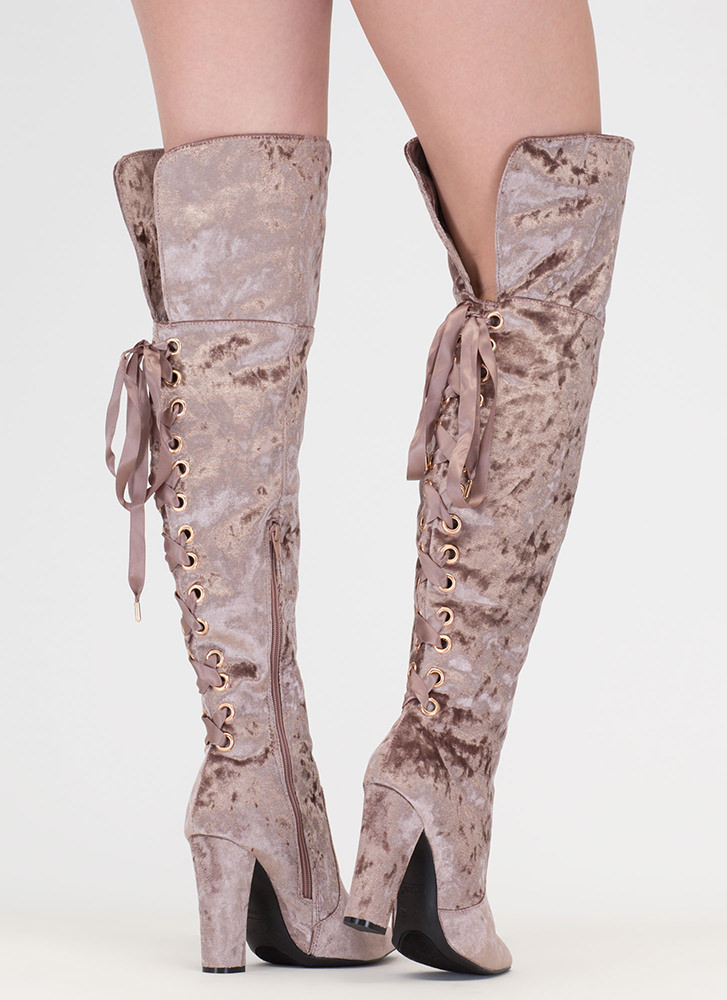 Lace U Back Velvet Thigh-High Boots TAUPE