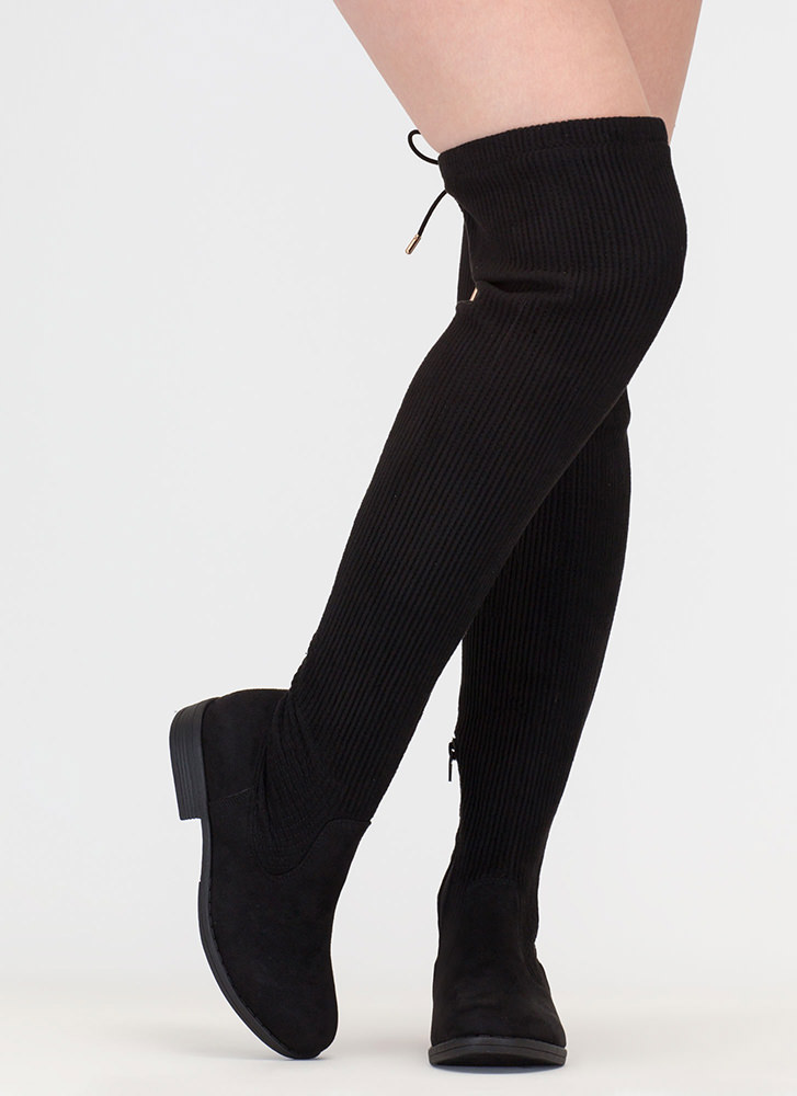 Pleats And Thank You Thigh-High Boots BLACK