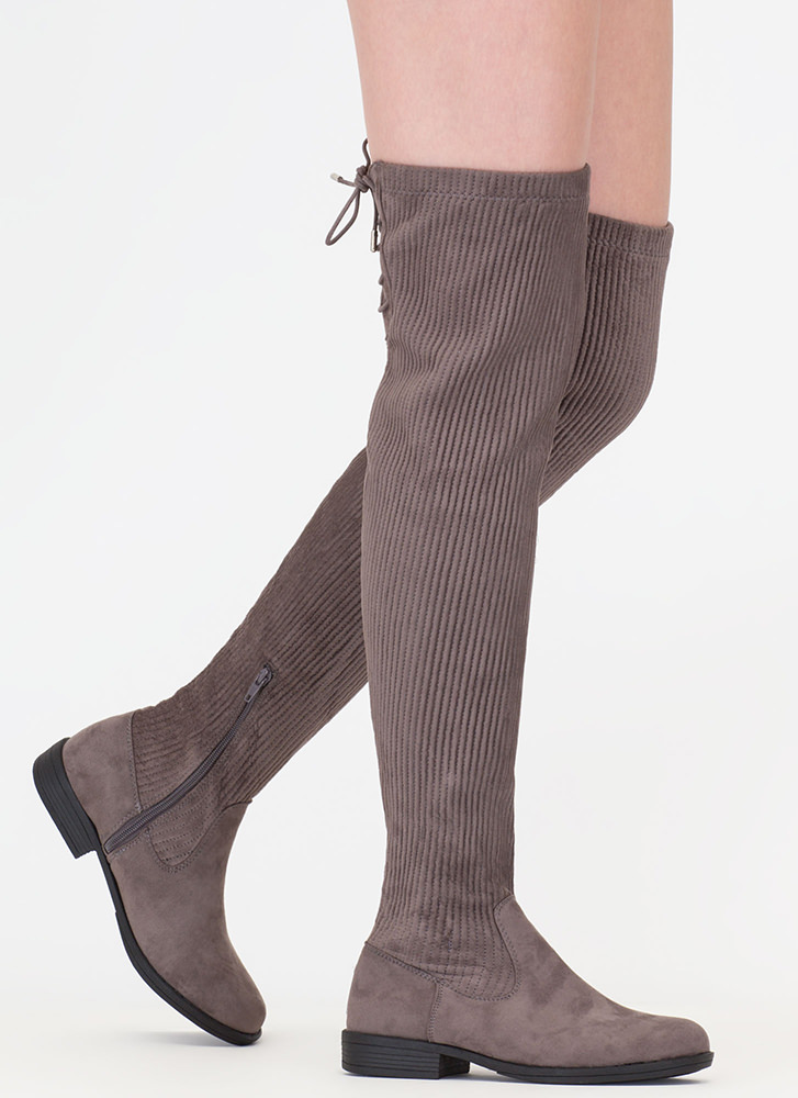 Pleats And Thank You Thigh-High Boots GREY (Final Sale)