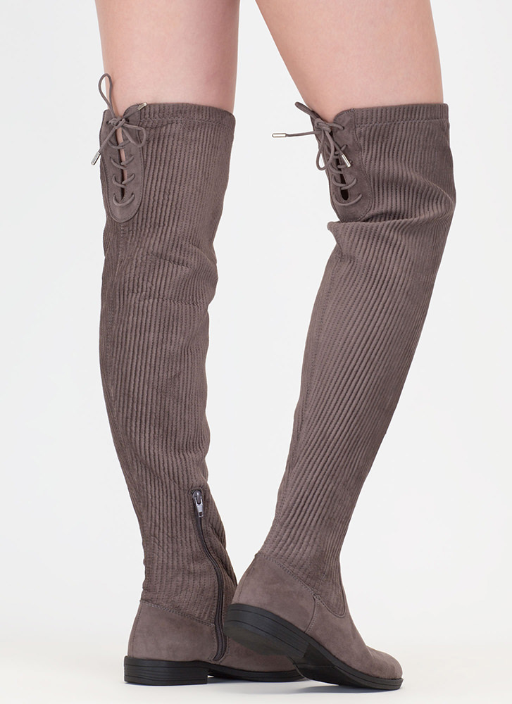 Pleats And Thank You Thigh-High Boots GREY