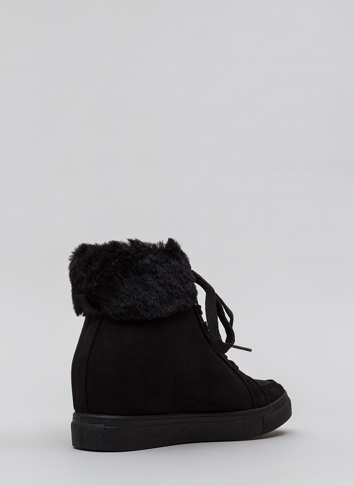 Furry Along Cuffed Wedge Sneakers BLACK