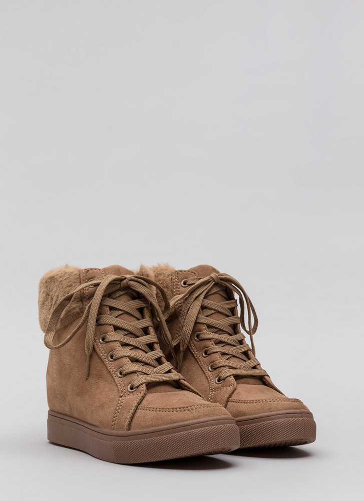 Furry Along Cuffed Wedge Sneakers CAMEL