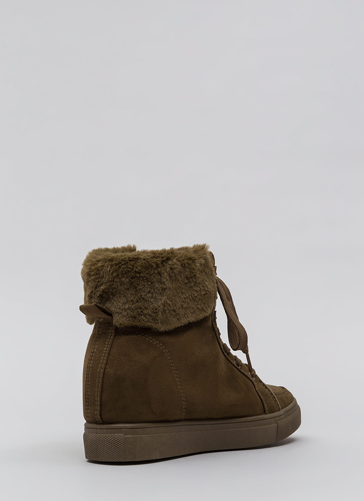 Furry Along Cuffed Wedge Sneakers OLIVE