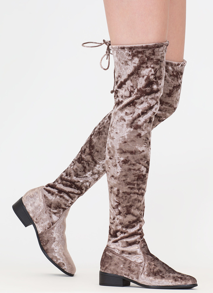 Blocked Off Velvet Thigh-High Boots TAUPE (Final Sale)