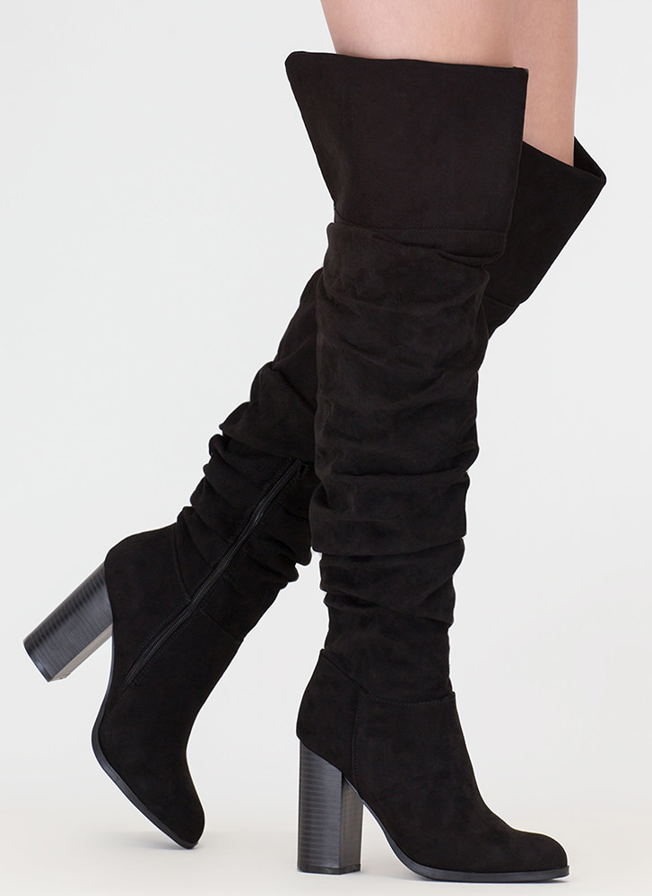 Slouch Appeal Chunky Thigh-High Boots BLACK