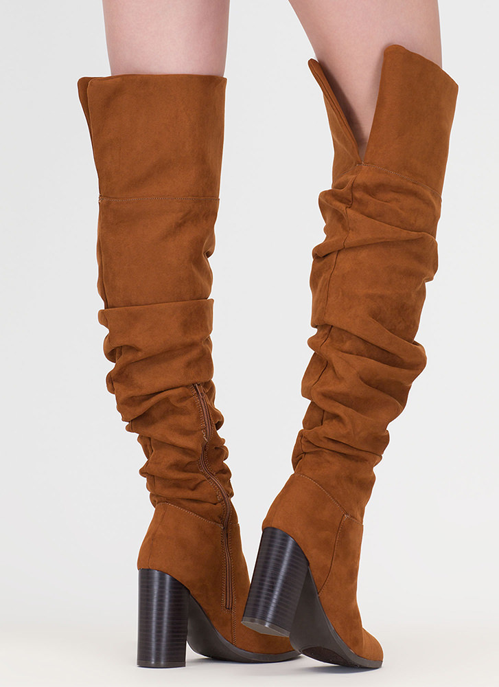 Slouch Appeal Chunky Thigh-High Boots CHESTNUT