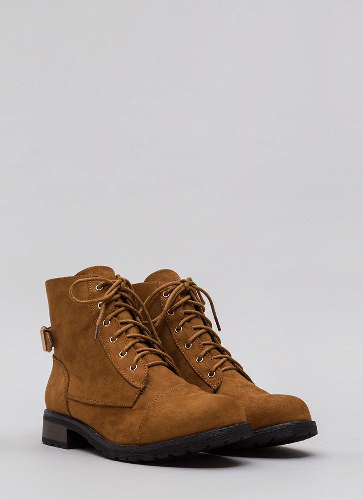 Go To Battle Faux Suede Combat Boots COGNAC