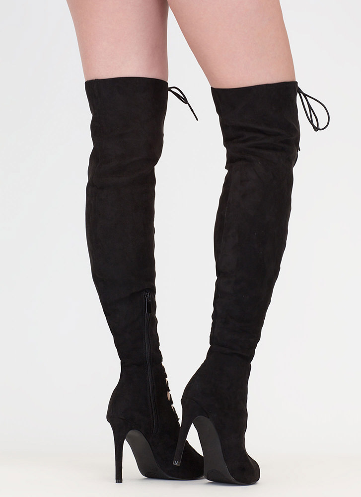 True Love Lace-Up Thigh-High Boots BLACK