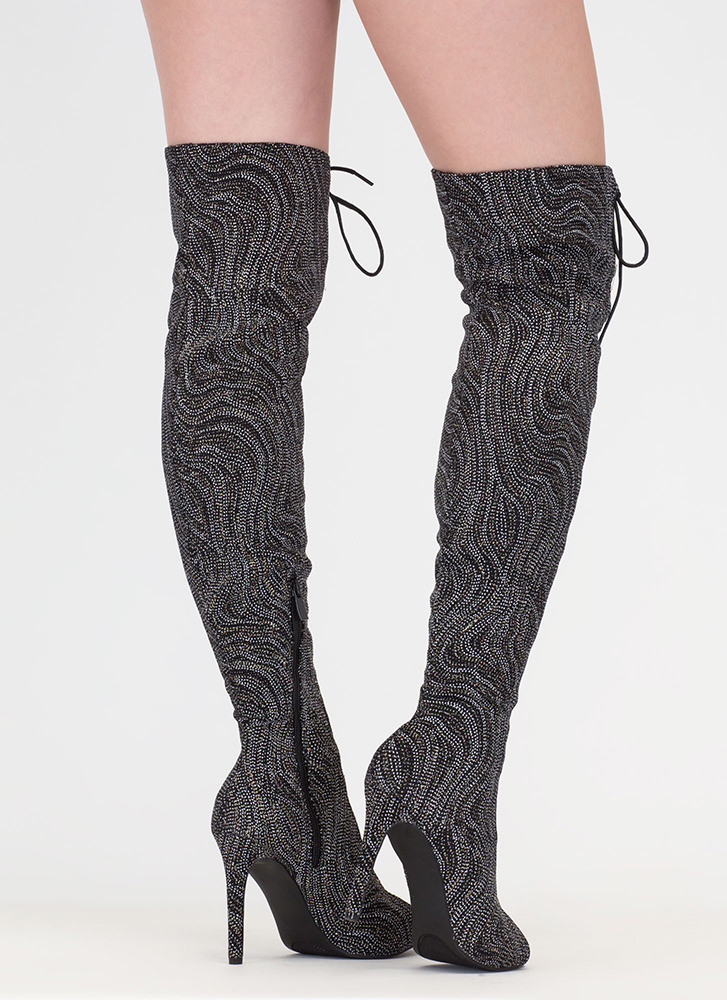 True Love Glittery Lace-Up Boots BLACK