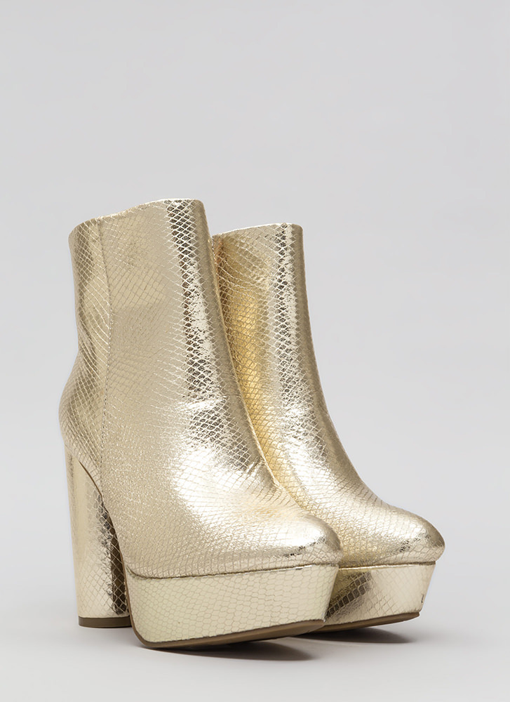 Good Vibes Scaled Platform Booties GOLD