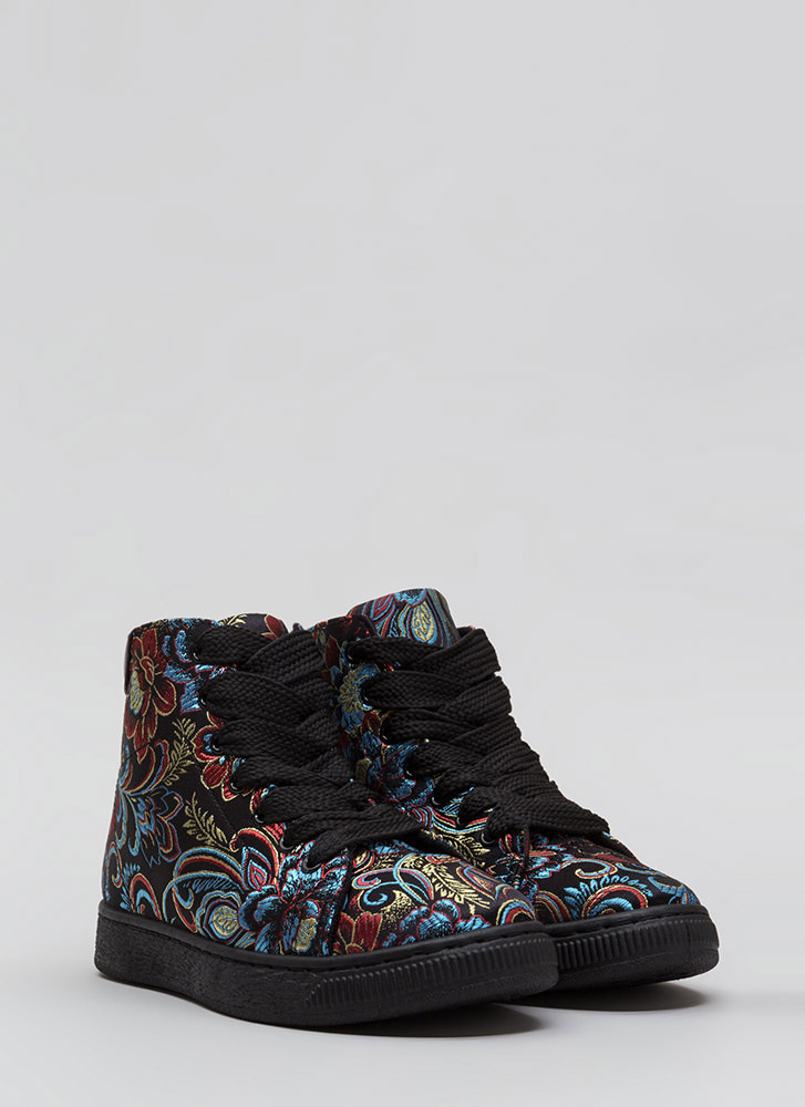 Run Away Embroidered High-Top Sneakers BLACK