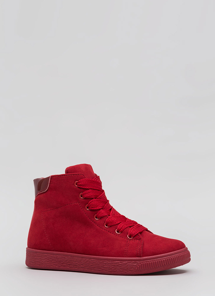 Run Away Faux Suede High-Top Sneakers RED
