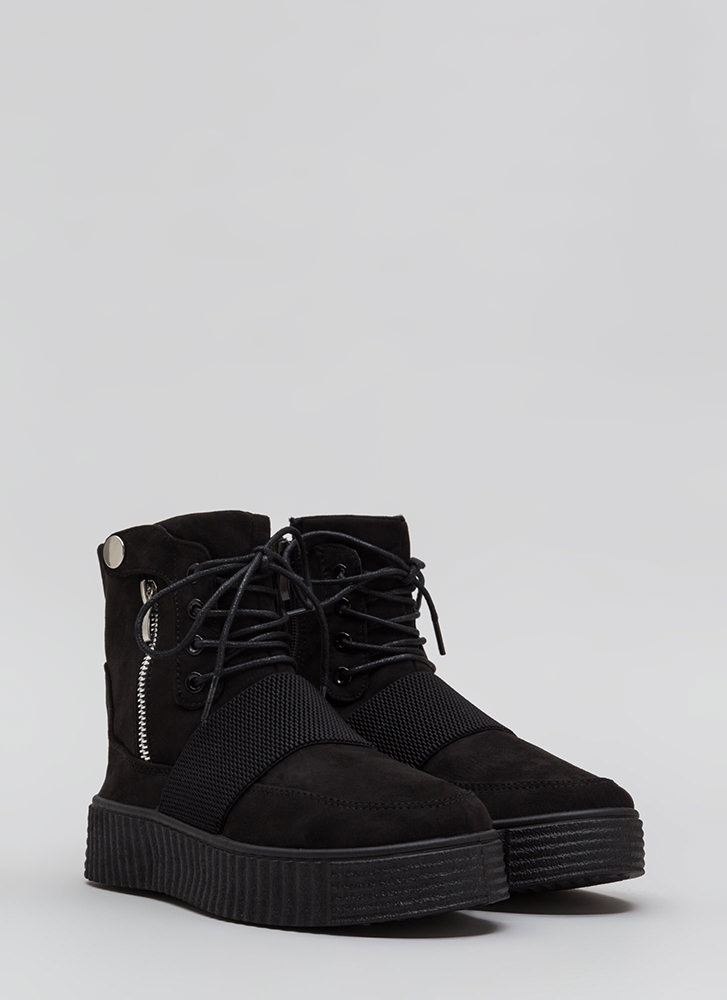 All In The Details Creeper Combat Boots BLACK