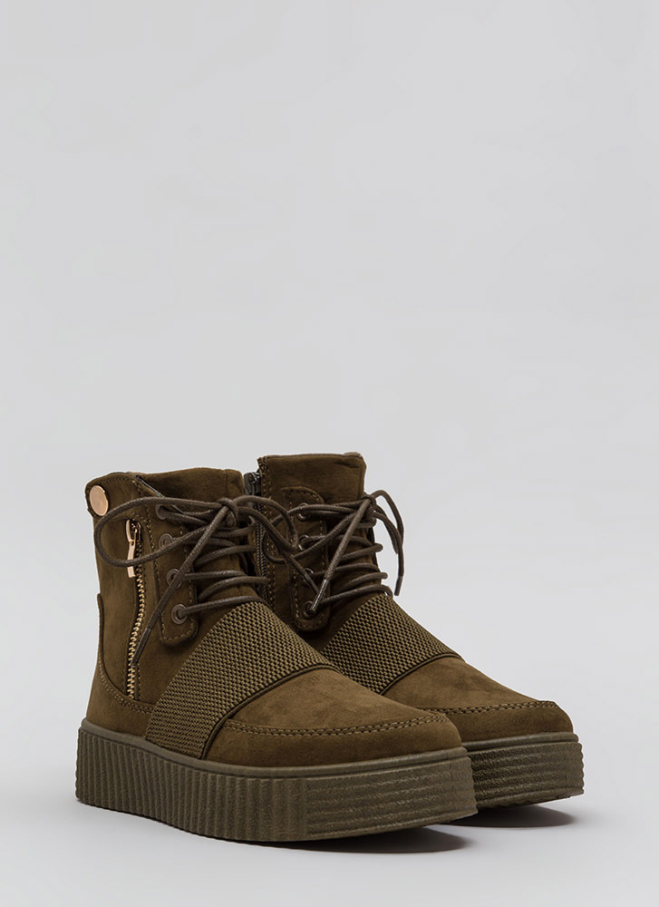 All In The Details Creeper Combat Boots OLIVE