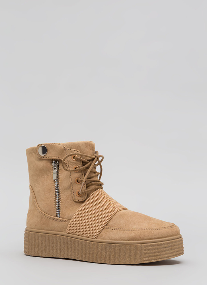 All In The Details Creeper Combat Boots TAN
