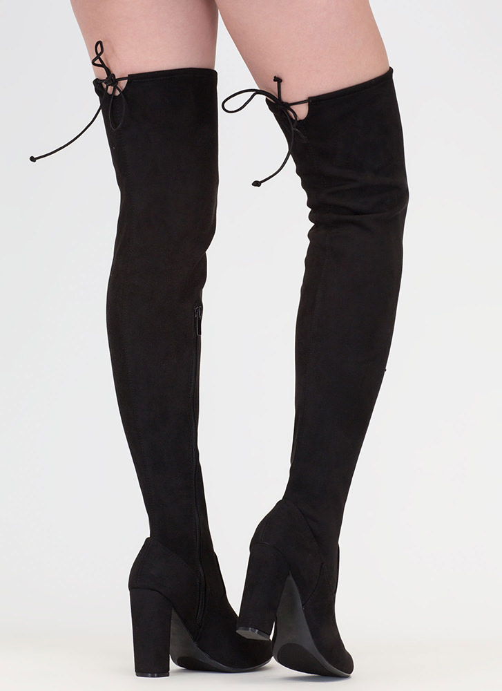 What A Draw Faux Suede Thigh-High Boots BLACK