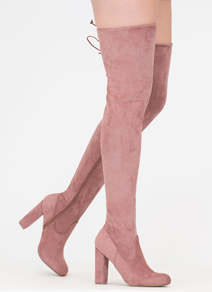 What A Draw Faux Suede Thigh-High Boots DKBLUSH