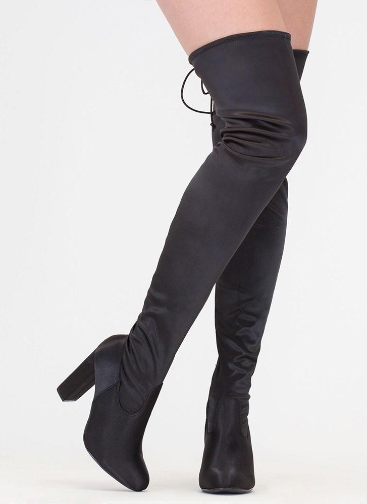 What A Draw Satin Thigh-High Boots BLACK