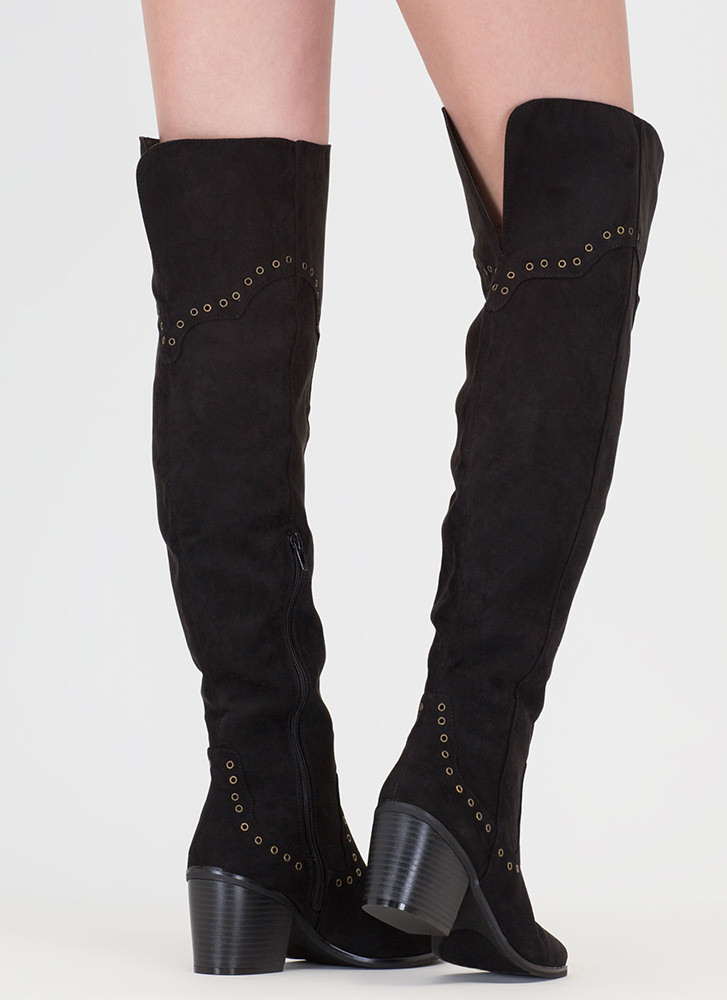 Punch Me Chunky Thigh-High Grommet Boots BLACK