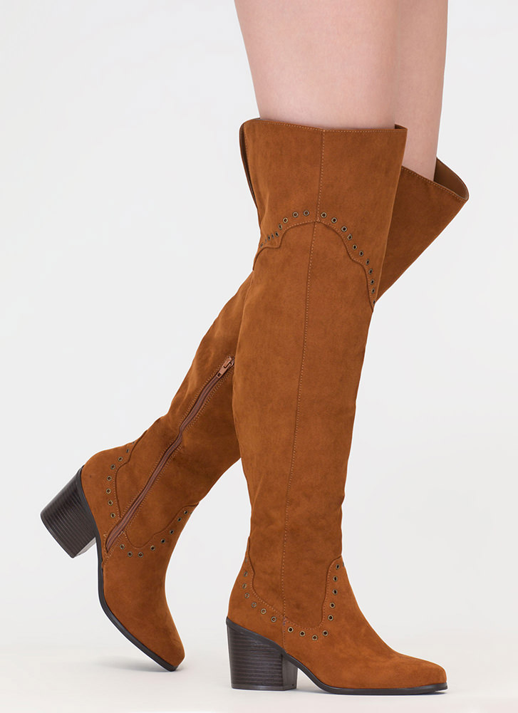 Punch Me Chunky Thigh-High Grommet Boots CHESTNUT