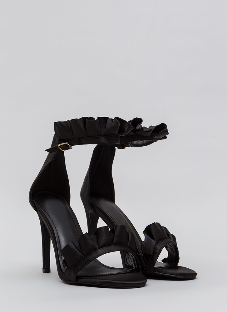 Ruffle Some Feathers Strappy Heels BLACK