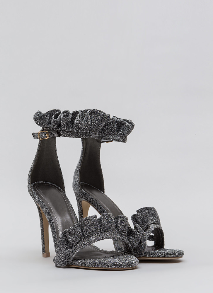 Ruffle Some Feathers Strappy Heels SILVER