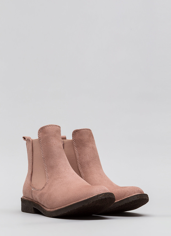Chelsea Girl Faux Suede Booties MAUVE