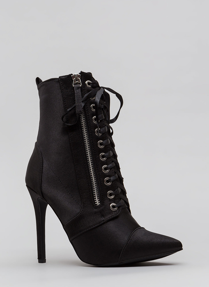 Point Value Satin Lace-Up Booties BLACK