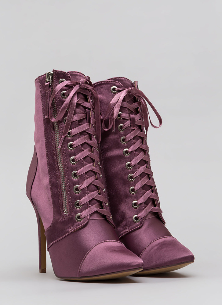 Point Value Satin Lace-Up Booties DKMAUVE (Final Sale)