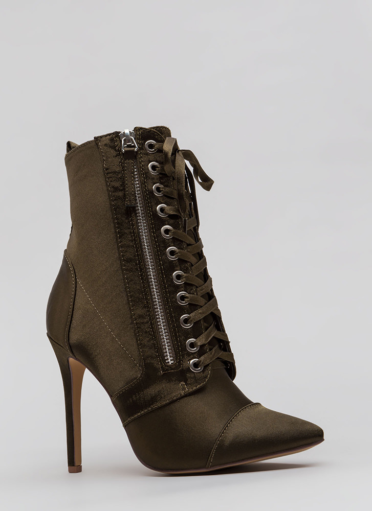 Point Value Satin Lace-Up Booties OLIVE