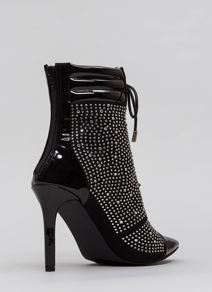 Point To These Jeweled Lace-Up Booties BLACK (Final Sale)