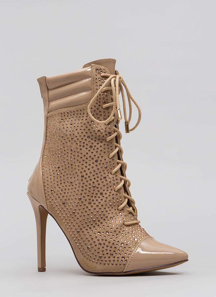 Point To These Jeweled Lace-Up Booties NUDE