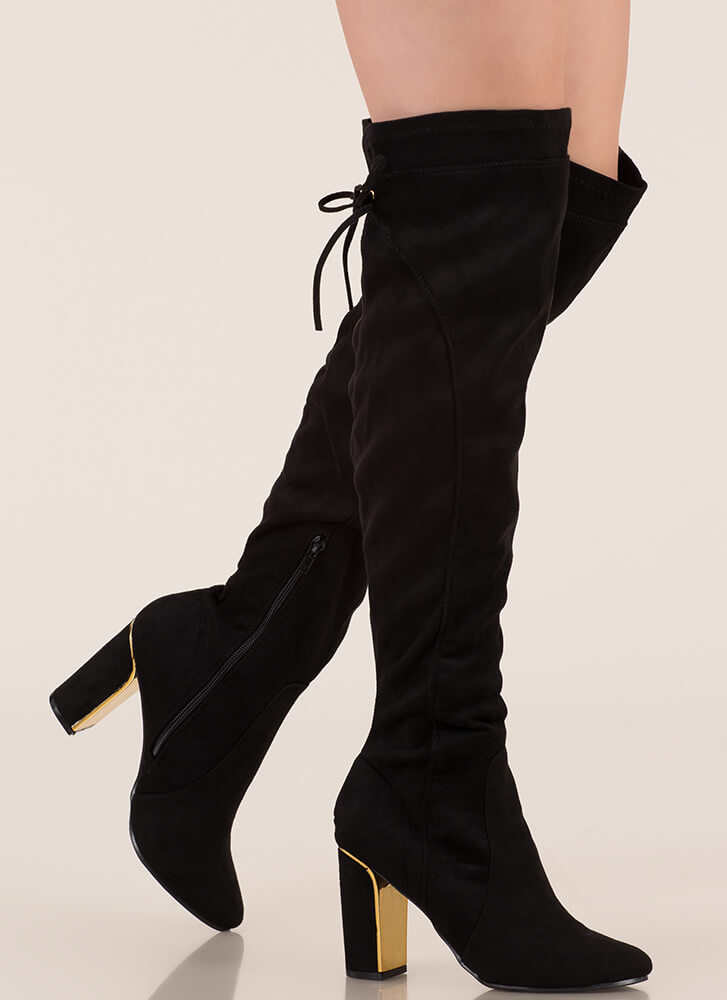 Some Shine Lace-Back Thigh-High Boots BLACK
