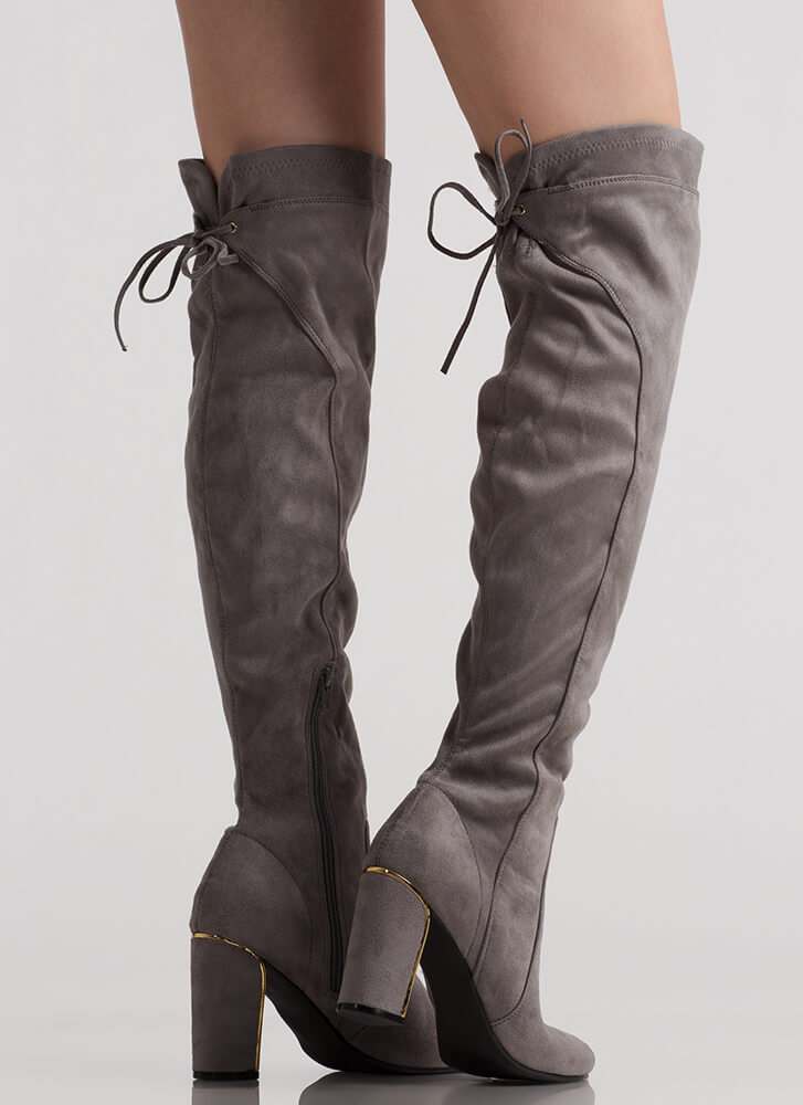 Some Shine Lace-Back Thigh-High Boots GREY