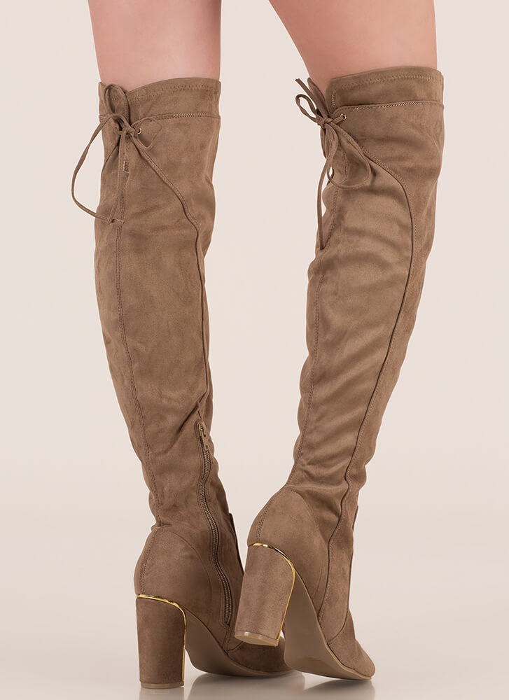 Some Shine Lace-Back Thigh-High Boots TAUPE