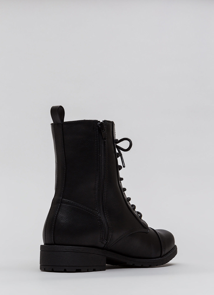 Fight Song Faux Leather Combat Boots BLACK