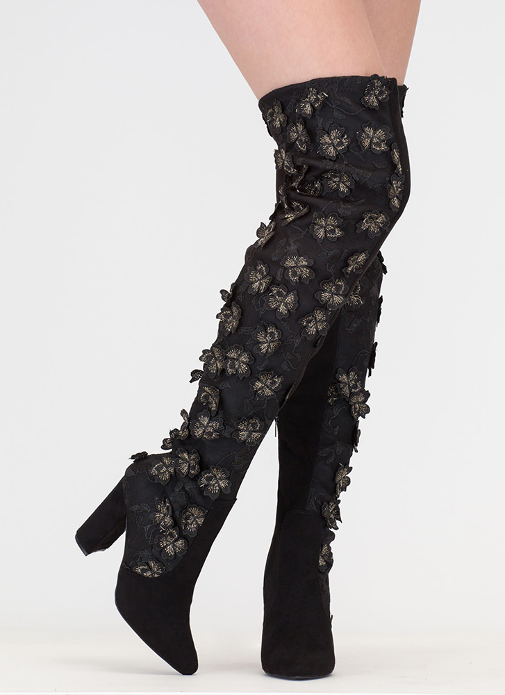 Fly Flowers Embroidered Thigh-High Boots BLACK (Final Sale)