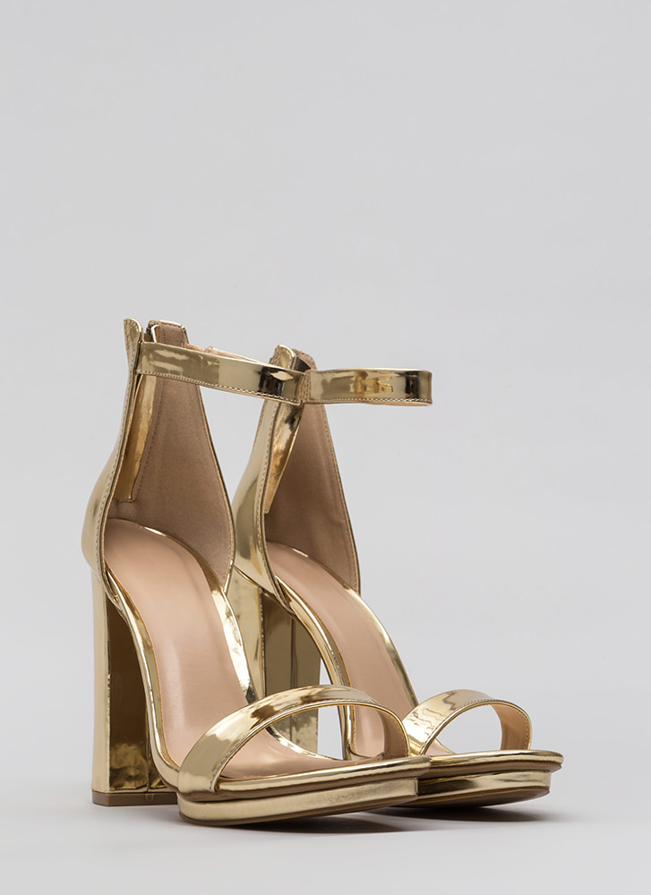 Stacking Up Chunky Faux Patent Heels GOLD