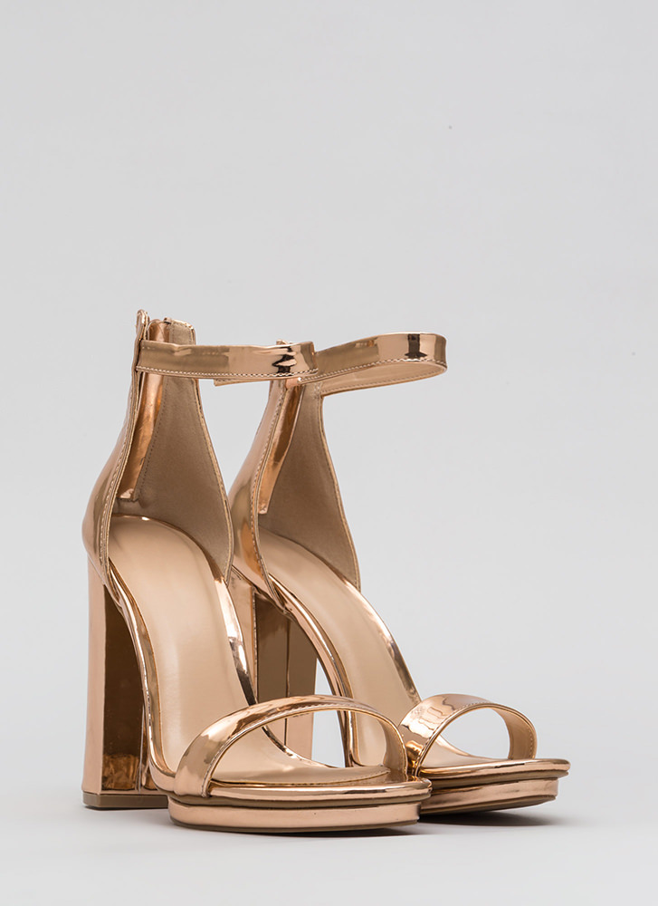 Stacking Up Chunky Faux Patent Heels ROSEGOLD