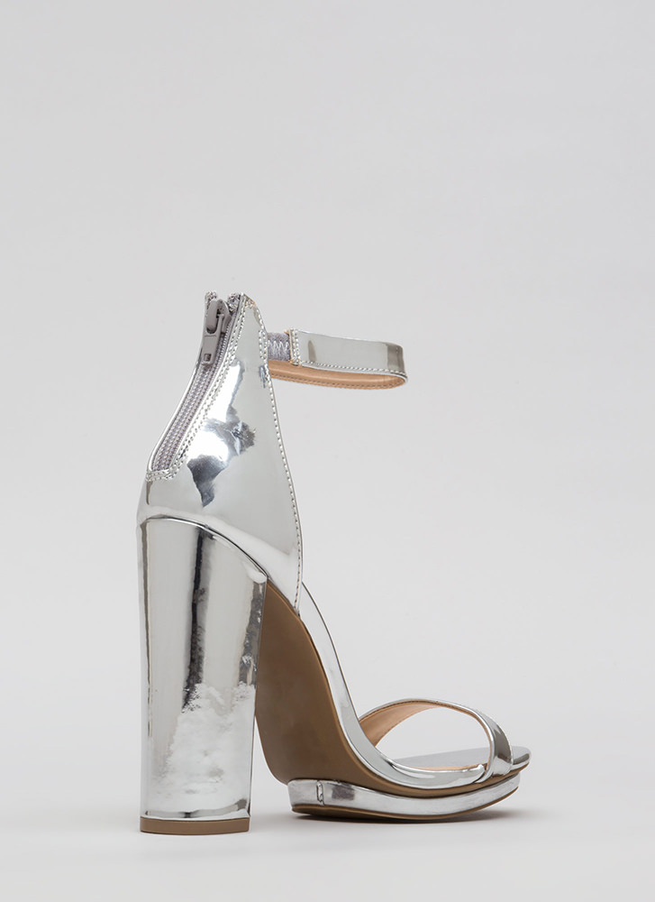 Stacking Up Chunky Faux Patent Heels SILVER