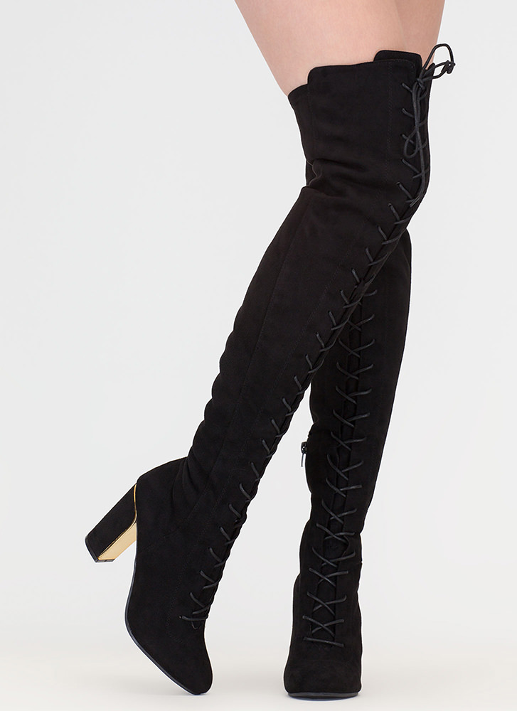 Glimmer Of Dope Lace-Up Thigh-High Boots BLACK
