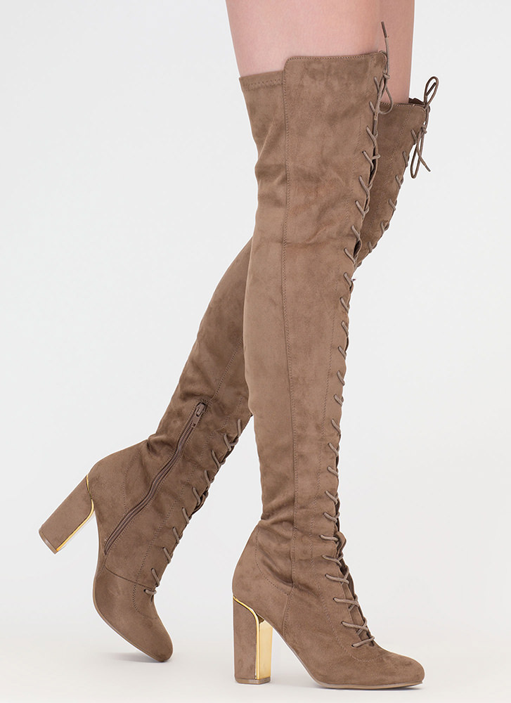 Glimmer Of Dope Lace-Up Thigh-High Boots TAUPE