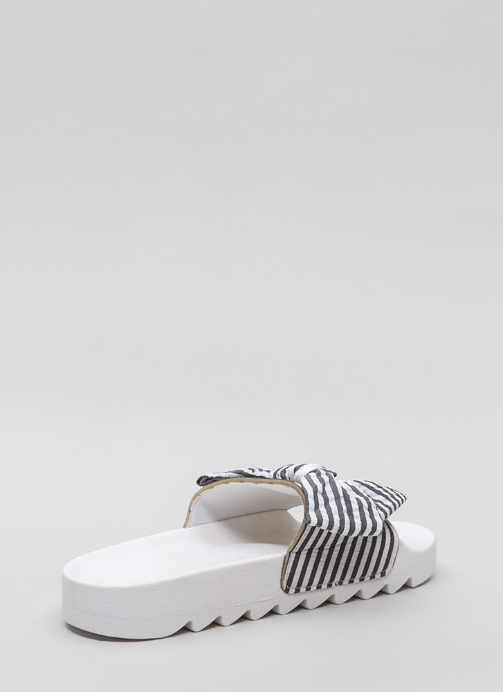 Bow Stripe Win Platform Slide Sandals BLACK